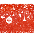 Red Christmas background with hanging vector image