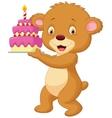 Bear cartoon with birthday cake vector image