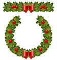 christmas holly garland and wreath vector image
