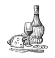 Cheese and wine set Bottle glass bunch of vector image