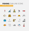 fishing linear thin line icons set with fisherman vector image