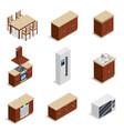 kitchen furniture isometric icons set vector image