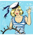 pop art of sailor pin up girl vector image