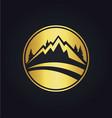 mountain icon round gold logo vector image