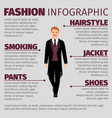 fashion infographic with man in smoking vector image