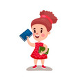 beautiful girl standing and holding books vector image
