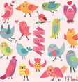 Cute cartoon birds set vector image