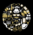 Vintage hipster concept icons silhouette in gold vector image