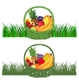Basket-with-Fruits color vector image
