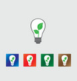 Bulb with green leafs icons vector image