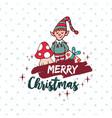 christmas cute santa helper elf holiday cartoon vector image