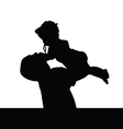 father playing with daughter silhouette vector image