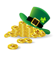 Green St Patricks Day hat with shamrock on gold vector image