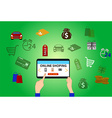 Online shopping background vector image