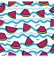 slices of watermelon on cartoon waves background vector image