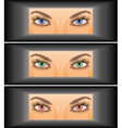young woman looking through vector image