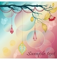 Vintage background with tree branch leafs and vector image