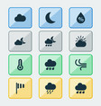 weather icons set collection of rainy sun-cloud vector image