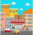 Scene of buildings along the road vector image