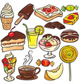 Desserts sweets drinks icon set vector image