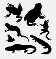frog amphibian and reptilian animal silhouette vector image