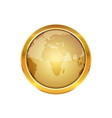golden button with globe vector image