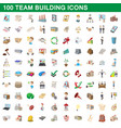 100 team building icons set cartoon style vector image