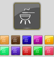 barbecue icon sign Set with eleven colored buttons vector image