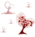 Tree with red hearts seamless pattern vector image vector image