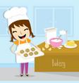 girl make bakery activity cute cartoon vector image