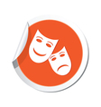 theater icon orange sticker vector image