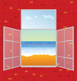 view on the beach from window vector image