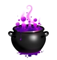 Black cauldron with purple witches magic vector image vector image