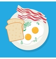 Delicious breakfast of fried eggs bacon on white vector image