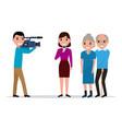 cartoon journalist interviewing elderly vector image