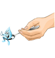 hand hold spoon with drop of syrup cartoon vector image