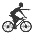 man riding bike silhouette icon vector image