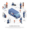 plumber isometric concept vector image