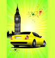 london poster with yellow car image vector image vector image