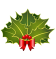 christmas holly leafs with red bow and berries vector image