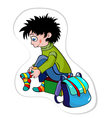 boy puts on socks vector image vector image