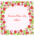 Frame of roses and tulips vector image