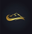 mountain water abstract gold logo vector image