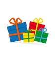 Set of colorful paper gifts on white background vector image