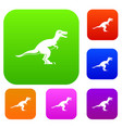 theropod dinosaur set color collection vector image