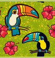 toucan and hibiscus tropical green seamless vector image