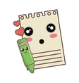 notepad and color pencil kawaii cartoon vector image