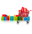 Background with shopping color bags and shopping vector image