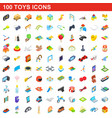 100 toys icons set isometric 3d style vector image