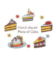 54 set of hand-drawn piece of cake vector image